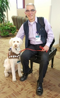 Eugene Gagnon and Bernie, the Therapy Dog