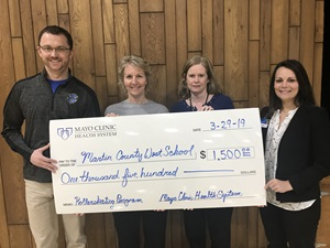 Mayo Clinic Health System awarded a Hometown Health Grant for $1,500 to MCW Trimont Elementary - Martin County West Schools, for roller skates for physical education classes.