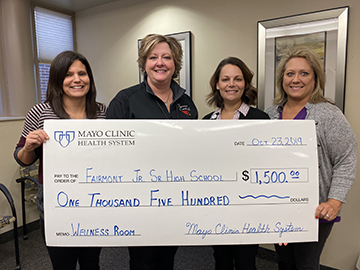 Fairmont Junior Senior High School is appreciative to Mayo Clinic Health System in Fairmont for their $1500 donation