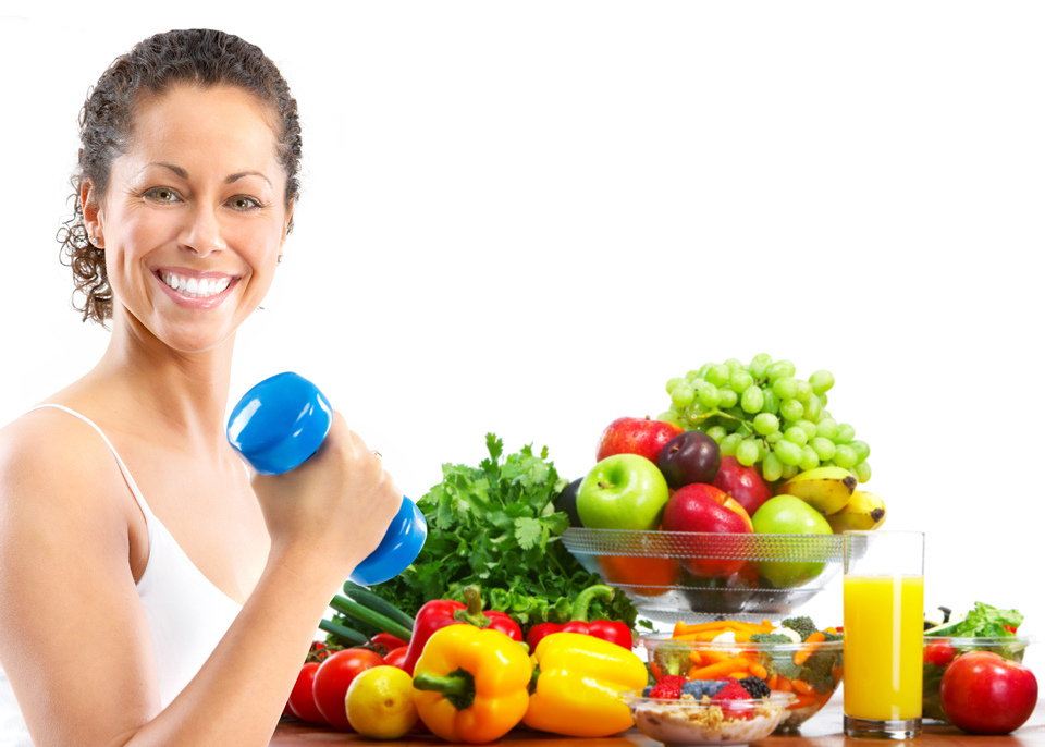Woman with hand weight next to healthy food