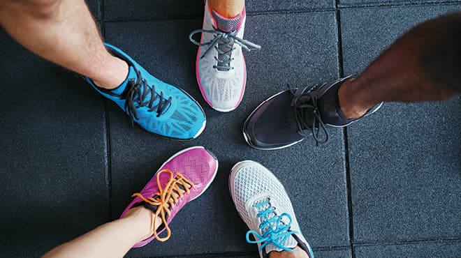 Athletic shoes in a circle