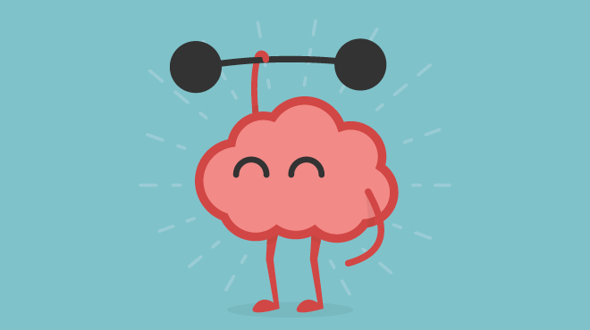 Brain caricature lifting weights