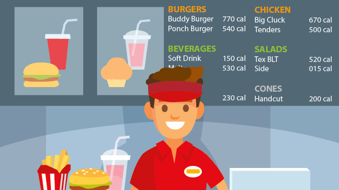 Fast food worker and menu with calories illustration