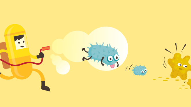 Killing germs with sprayer