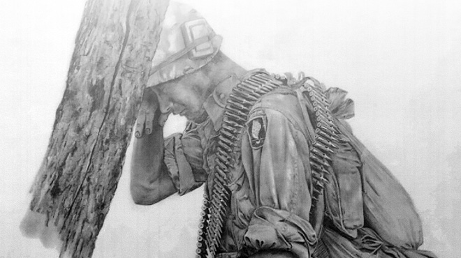 Pencil drawing of a soldier