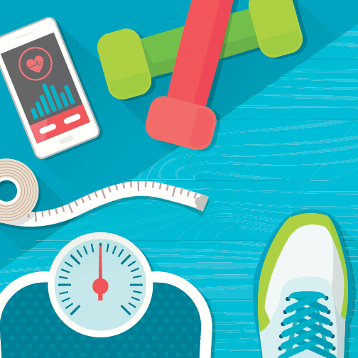 Weight loss helpers: scale, hand weights, phone app, measuring tape