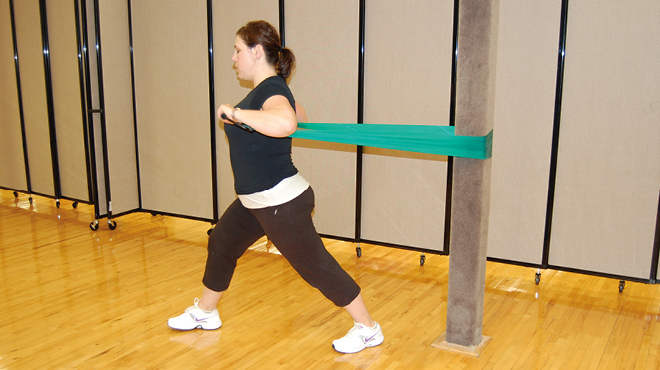 Workout with stretch bands