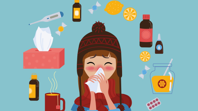 Girl blowing nose illustration