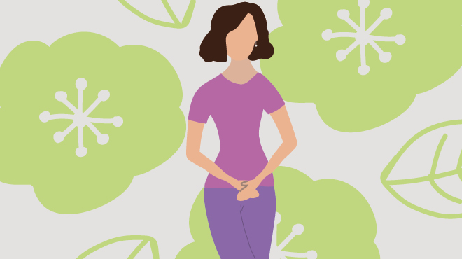 Illustrated woman with hands over pelvic area