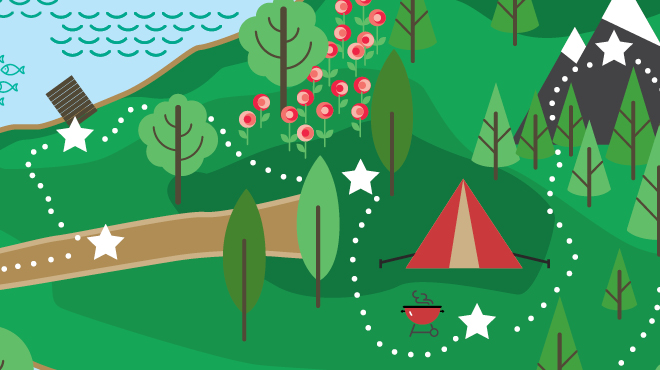 Illustrated woodland camping lake