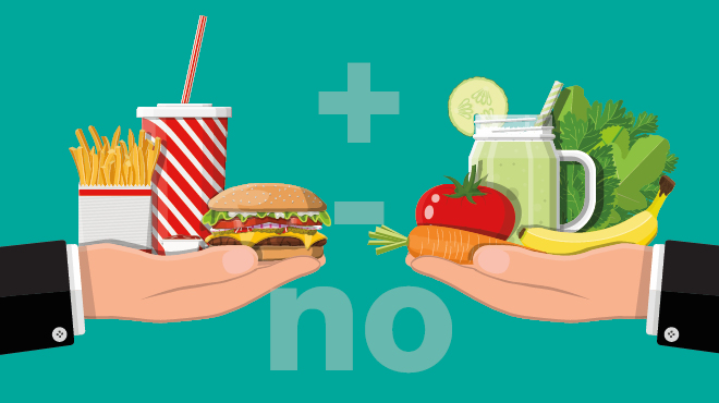 Illustration comparing fast food to healthy food