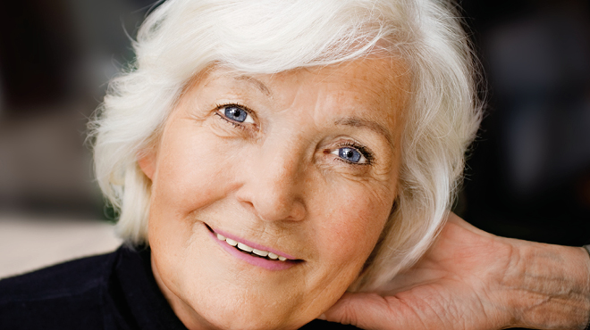 Older woman with white hair