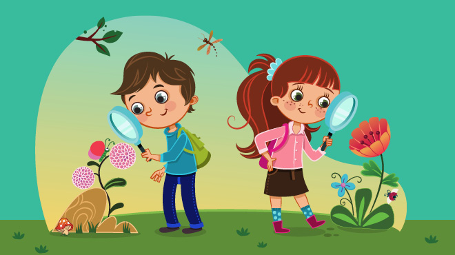 Boy and girl with magnifying glass illustration