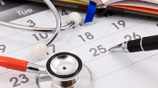 Calendar and stethoscope