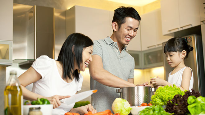 Family preparing heart healthy meal