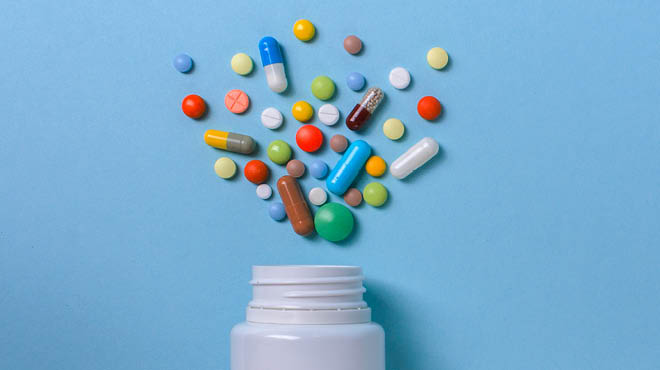 Medications above pill bottle