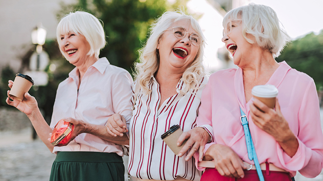Group of mature women laughing
