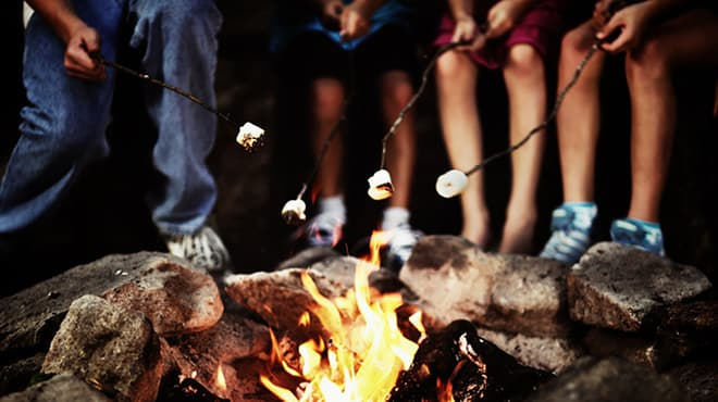 Kids roasting marshmallows on fire