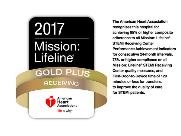 2017 Mission LIfeline Gold Plus Receiving American Heart Association