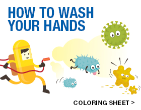 Wash Your Hands Coloring Sheet